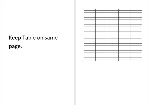 Document with Table on one page