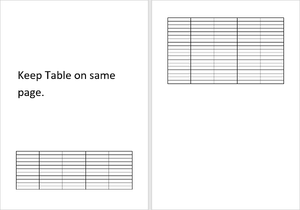 Document with Table on two pages